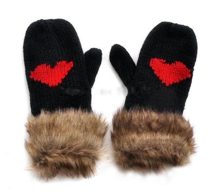 Gants moufles motif coeur boho boheme chic gloves0131