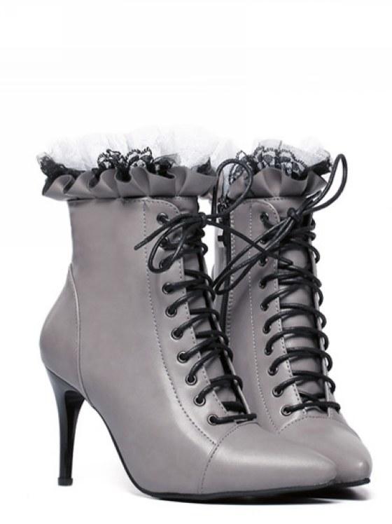 Bottillons gris dentelle laçage boho boheme chic boots0055