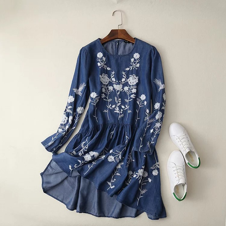 Robe jean tencel brodée boho bohème chic DRESS1678