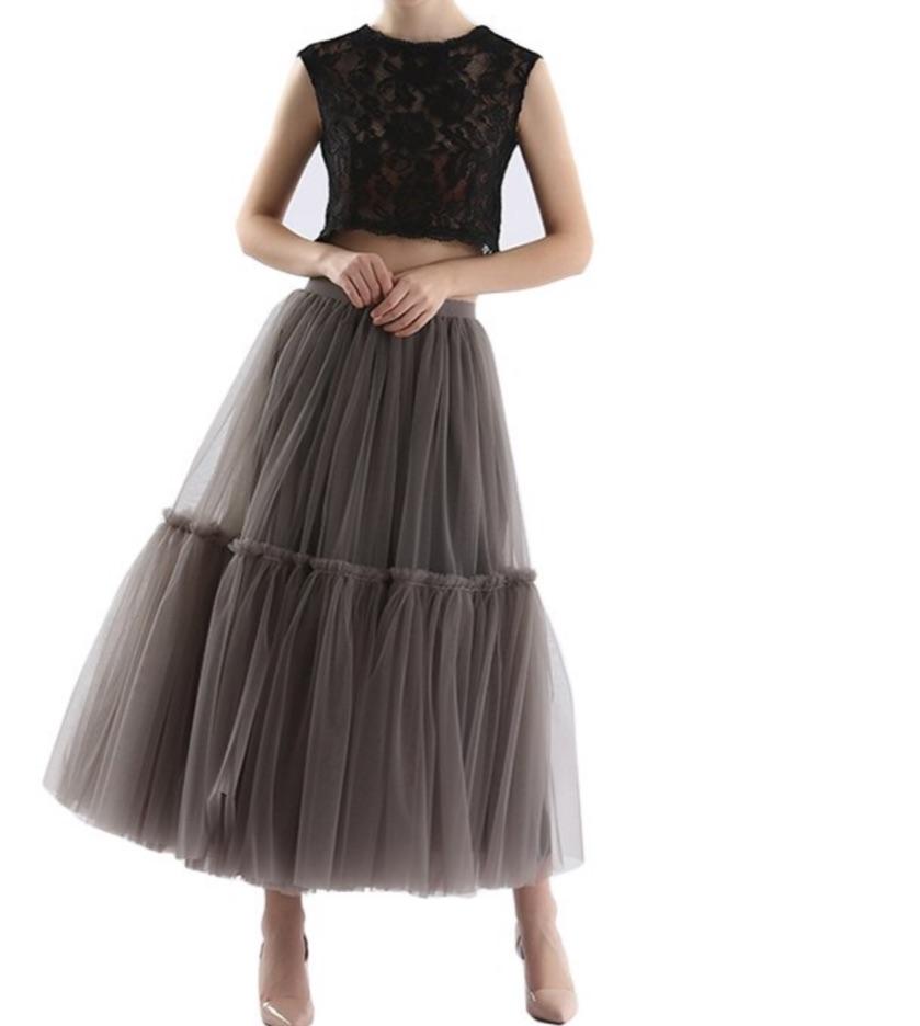 Jupe jupon tulle gris bouffant boho boheme chic skirt0257