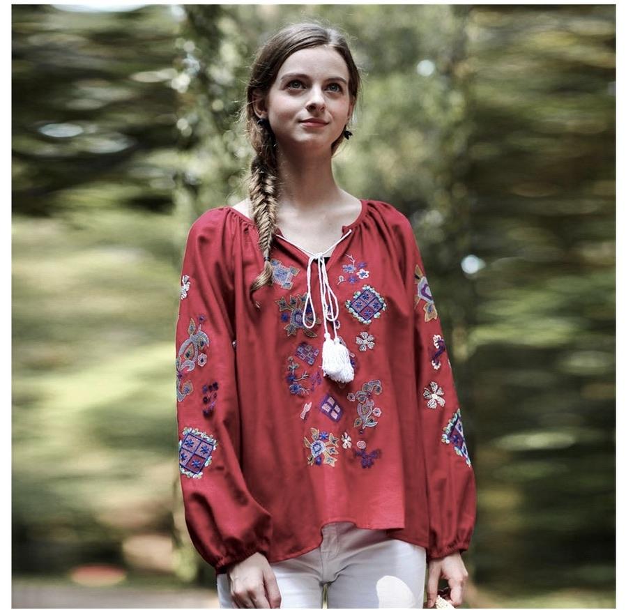 Blouse brodée rouge foncé boho boheme chic blouse0546