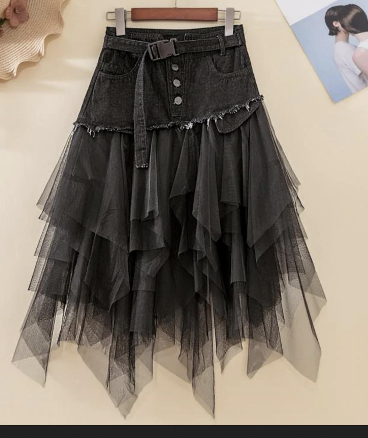 Jupe jean et tulle noir boho boheme chic SKIRT0263