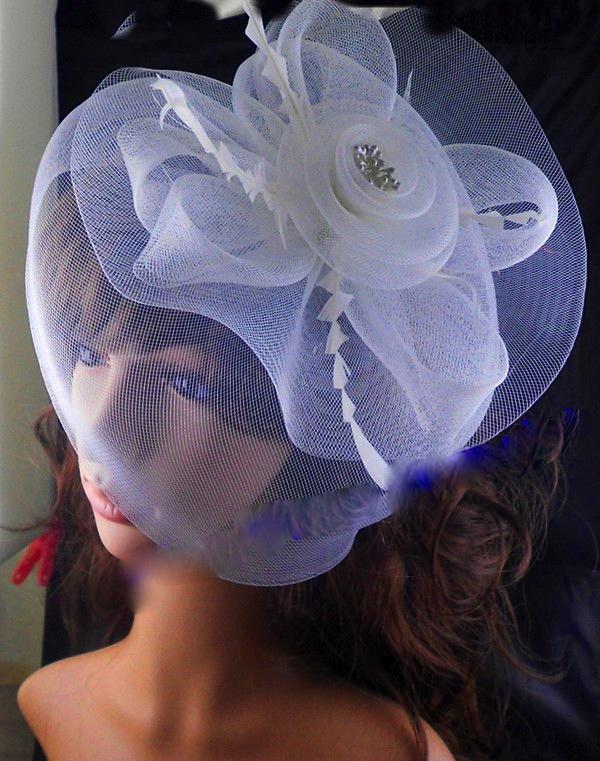 Accessoire cheveux mariage tulle blanc boho boheme chic hair0031