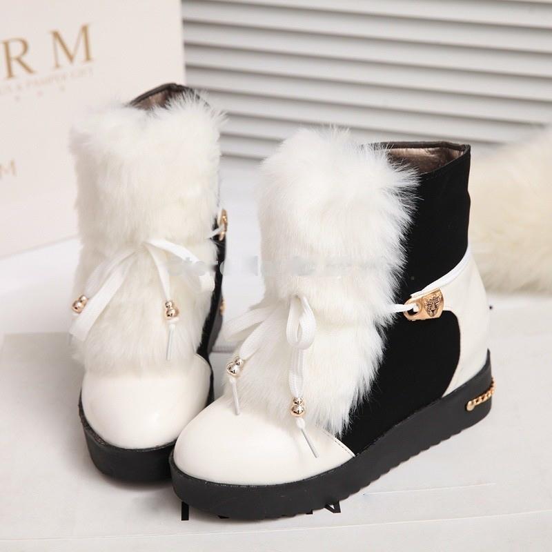 Boots fourrés noir et blanc vernis boho boheme chic  boots0045