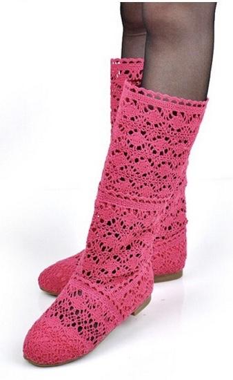 Bottes dentelle rose foncé boho boheme chic boots0067