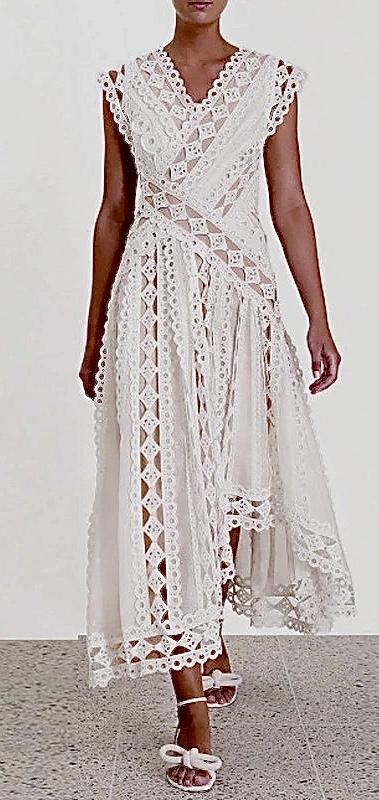 Robe dentelle doublure beige boho boheme chic dressL1660