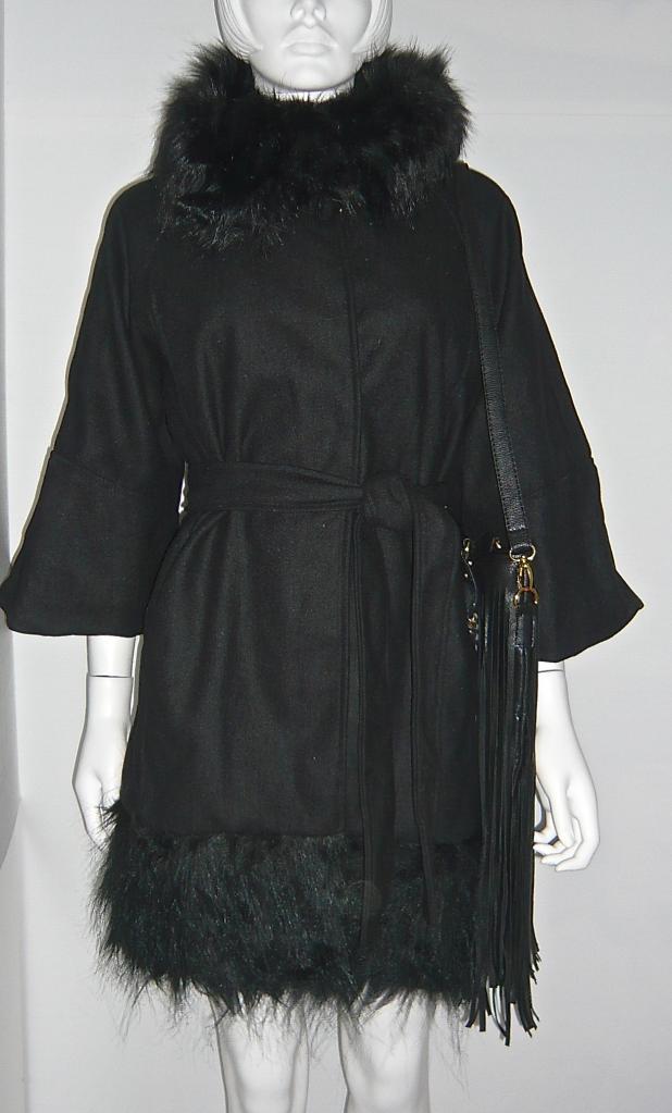 Manteau col fausse fourrure boho boheme chic COAT0088