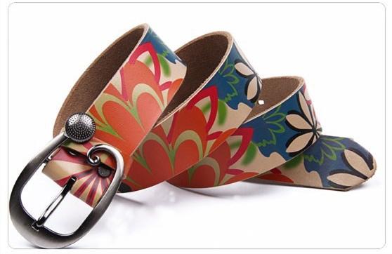 Ceinture cuir fleurs boho boheme chic belt0193