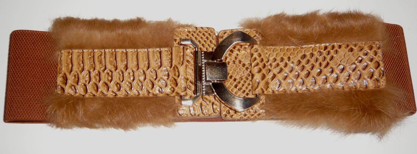 Ceinture cuir fourrure élastique boho boheme chic belt0124