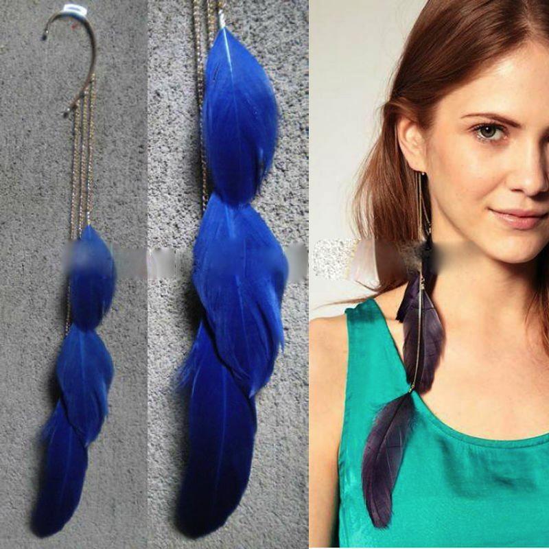 Boucle d\'oreille plume bleue boho boheme chic earring0063