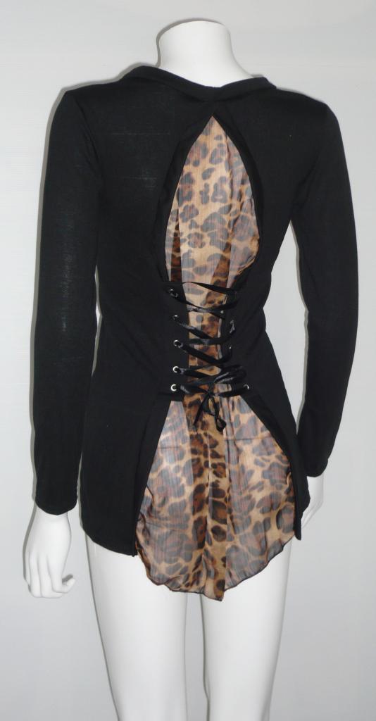 Gilet dos léopard laçage dos boho boheme chic GILET0036