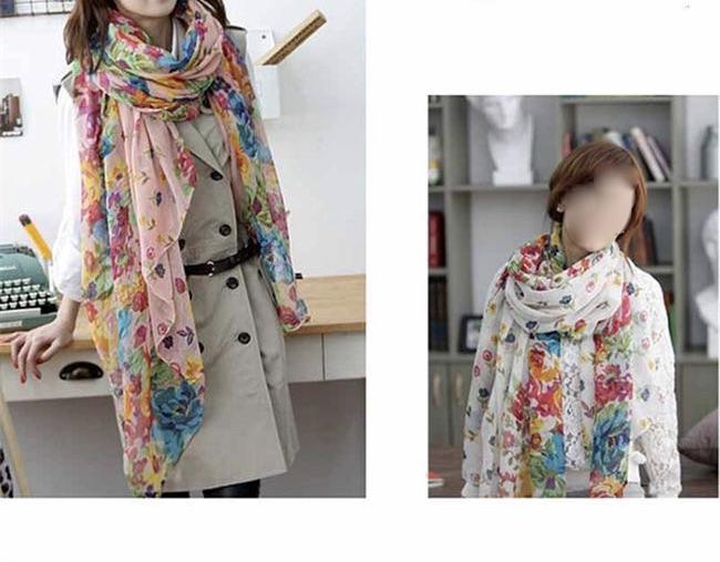 Echarpe foulard fleurs boho boheme chic scarf0093