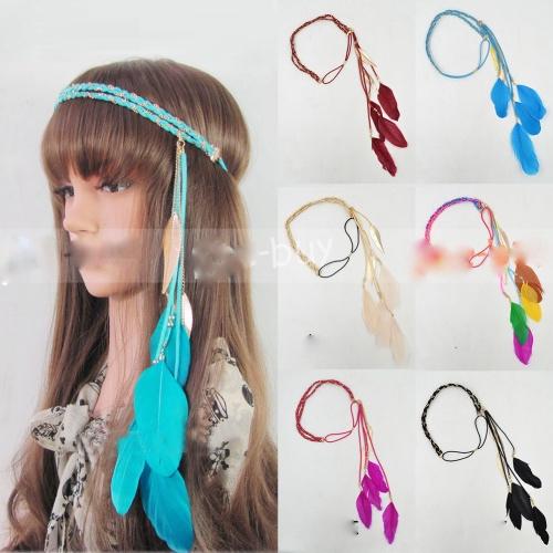 Bandeau élastique cheveux plumes boho boheme chic HAIR0164