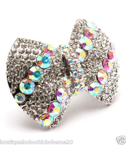Bague ajustable noeud strass boho boheme chic RING0117