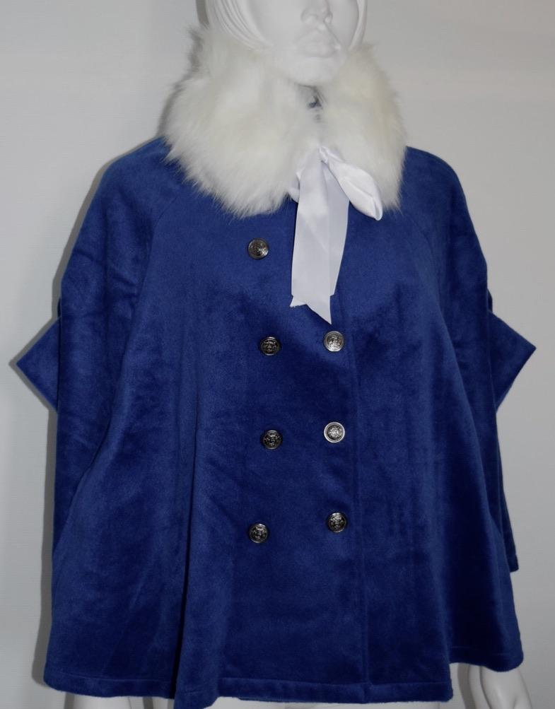Cape bleue col fausse fourrure boho boheme chic coat0108