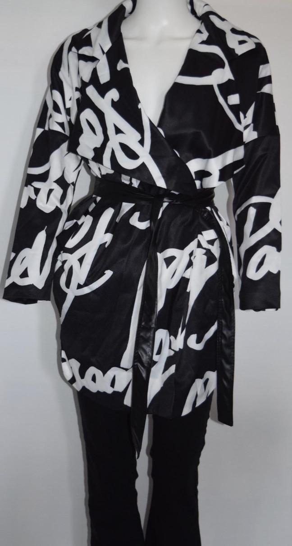 Trench noir et blanc boho boheme chic coat0133