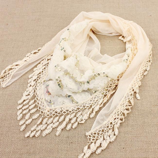Echarpe tour de cou franges fleurs boho boheme chic scarf0143