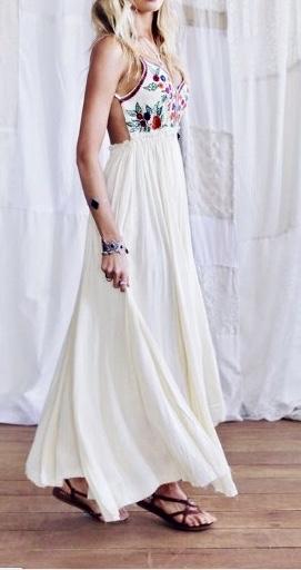 Robe longue buste imprimé boho boheme chic dressl1384