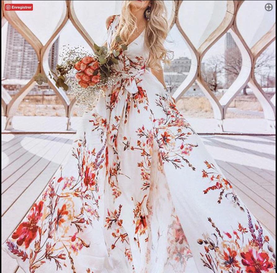 Robe imprimée branches fleuries marque boho bohème chic dressl1558