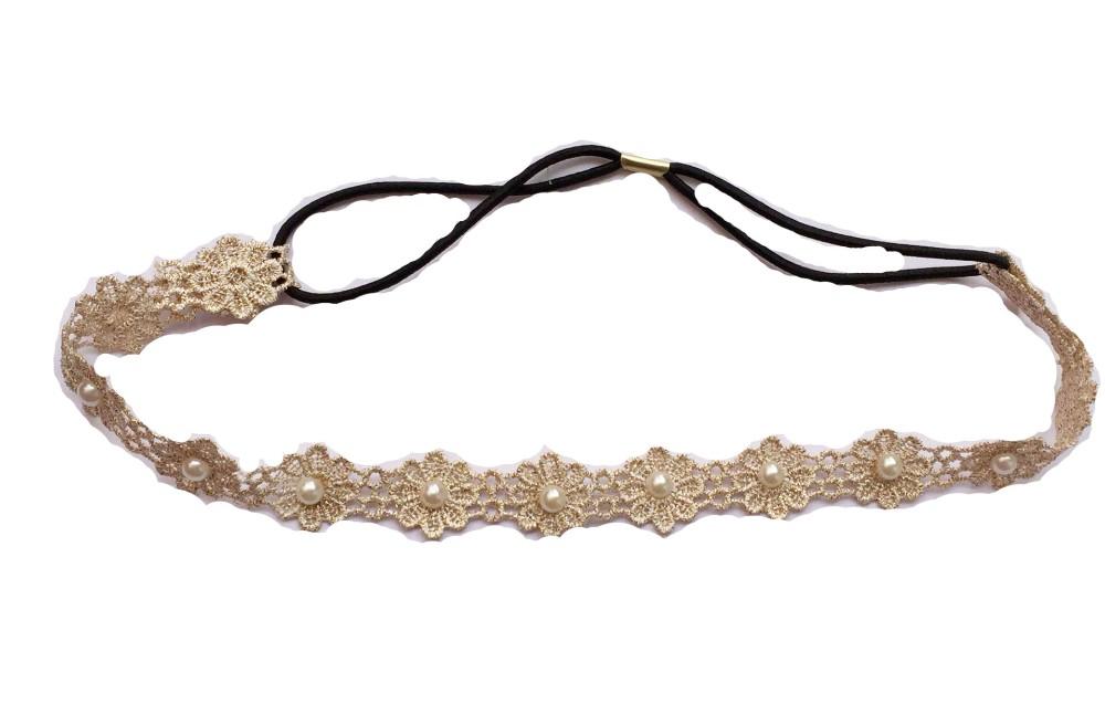 Bandeau élastique fleurs perles marque boho boheme chic CHEV0259