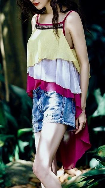 Top blouse coloré boho boheme chic top0182