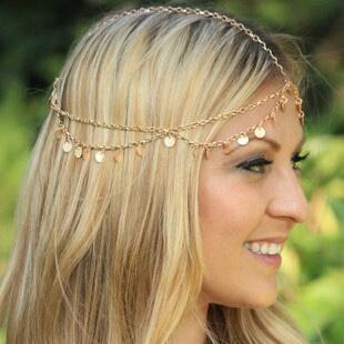 Bijou cheveux pampilles doré boho boheme chic hair0178