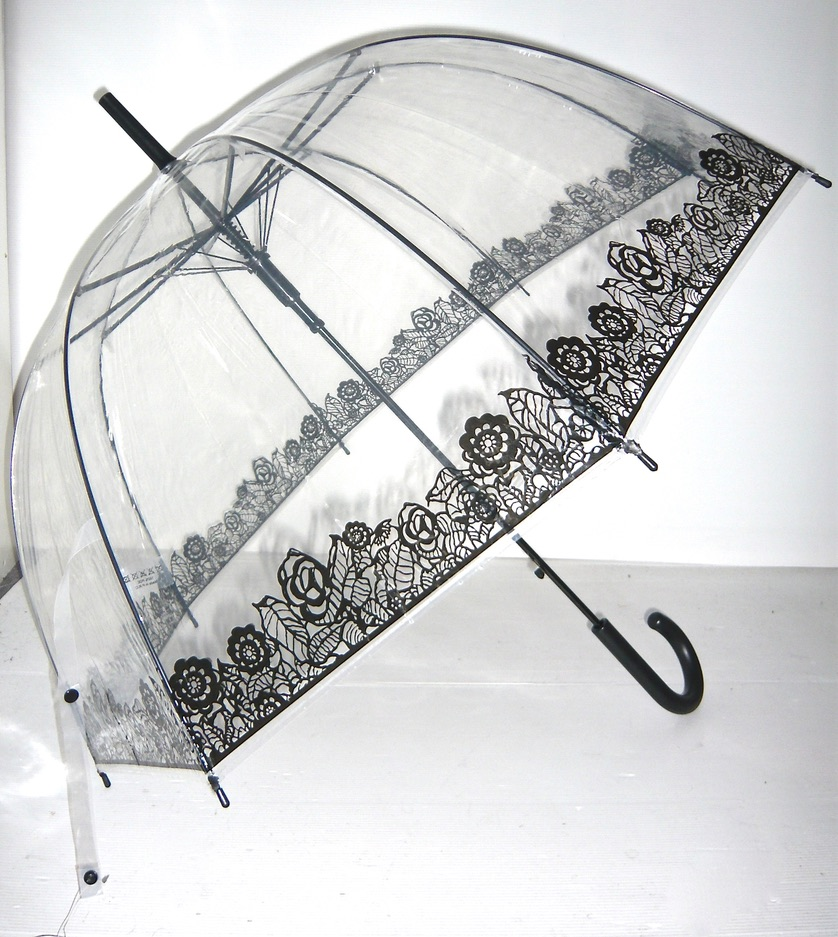 Parapluie transparent roses dentelle boho boheme chic div0013