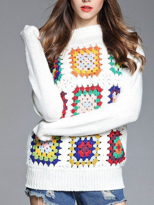 Pull crochet carrés multicouleurs boho boheme chic PULL0170
