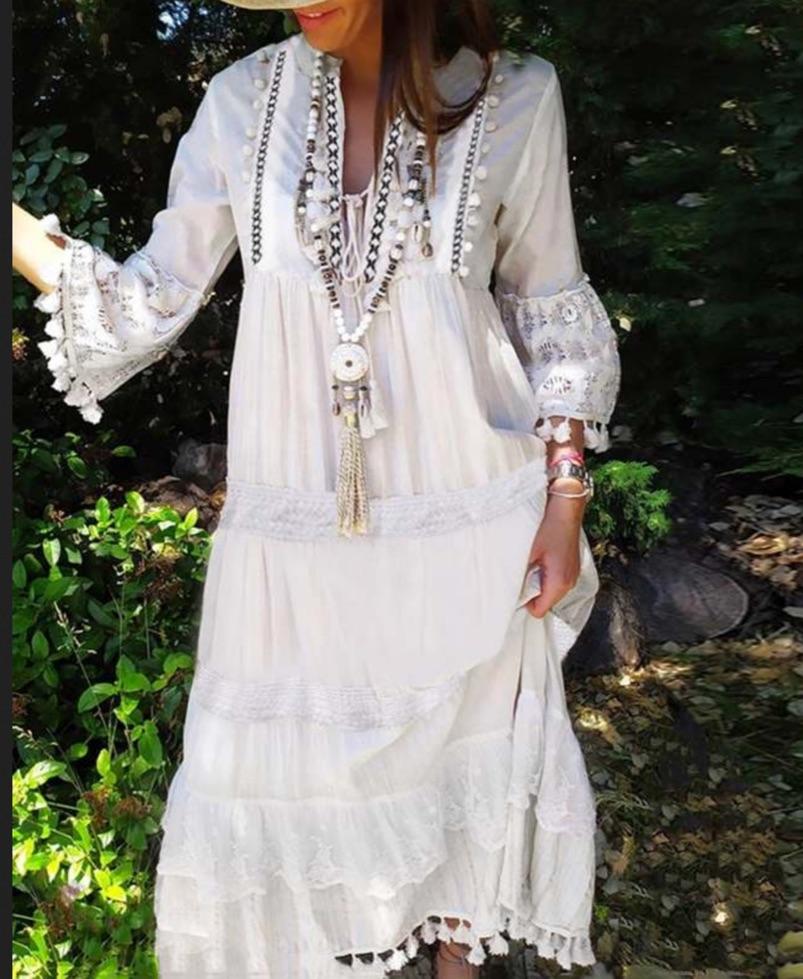Robe longue dentelle pompons boho boheme chic DRESSL1746