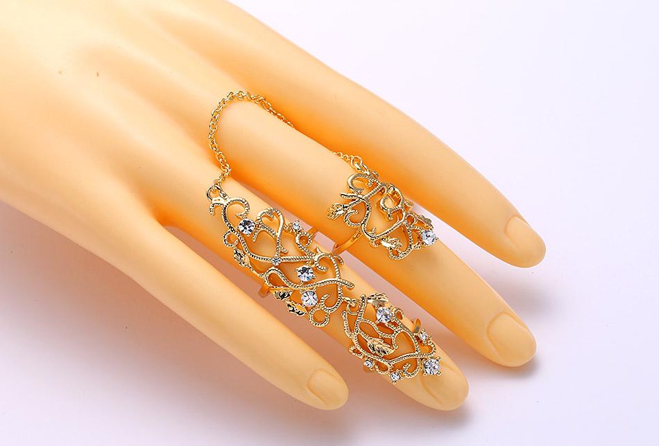 Bague articulée 2 doigts strass boho boheme chic ring0349