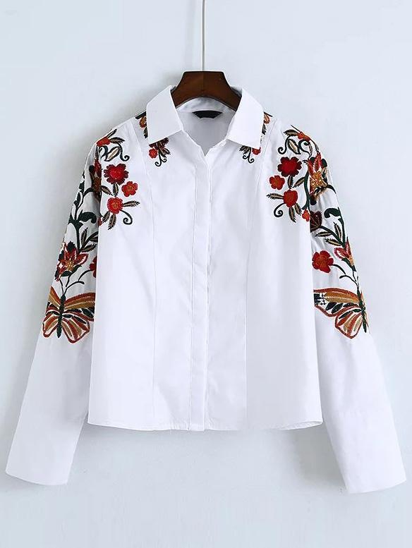 Top blanc brodé fleurs boho boheme chic top0174