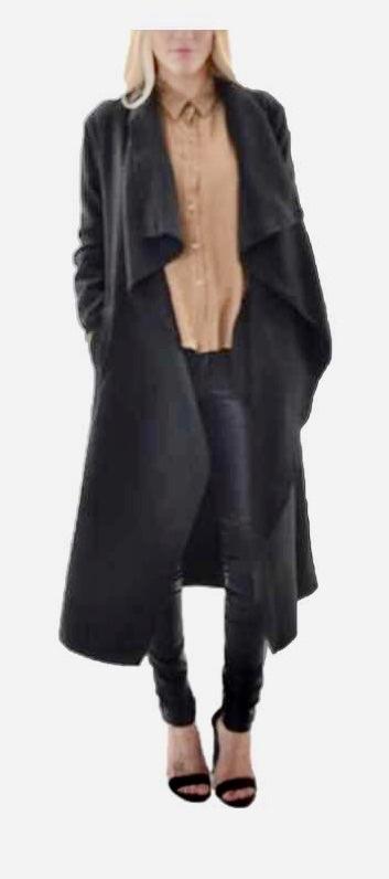 Trench long volants noir boho boheme chic coat0157