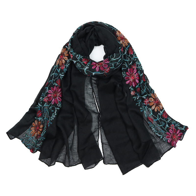 Echarpe foulard brodé boho boheme chic scarf0192