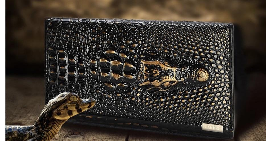 Portefeuille cuir tête crocodile boho boheme chic WALLET0134