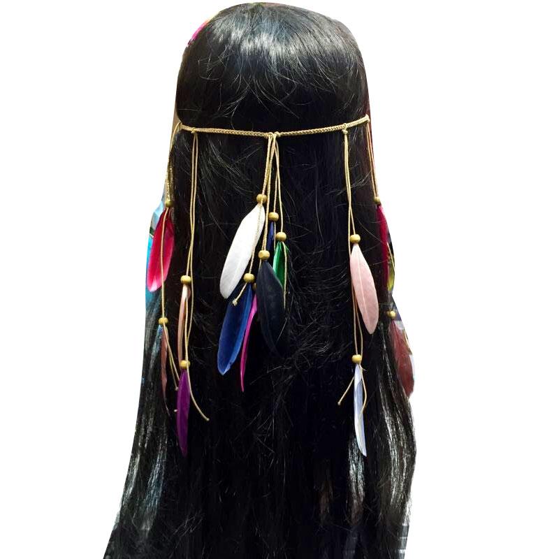 Bandeau cheveux plumes colorées boho boheme chic hair0237