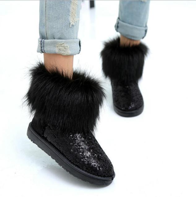 Boots noirs paillettes fourrure boho boheme chic  BOOTS0069
