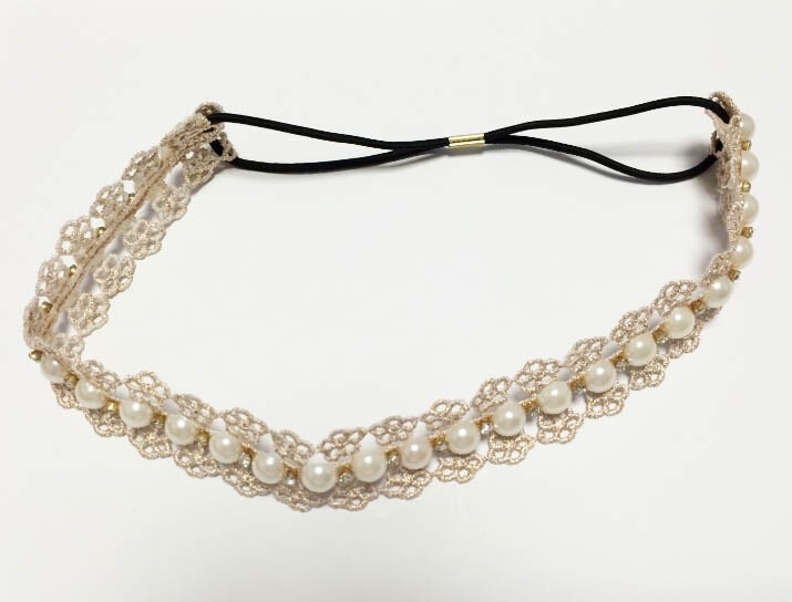 Bandeau élastique perles boho boheme chic hair0260