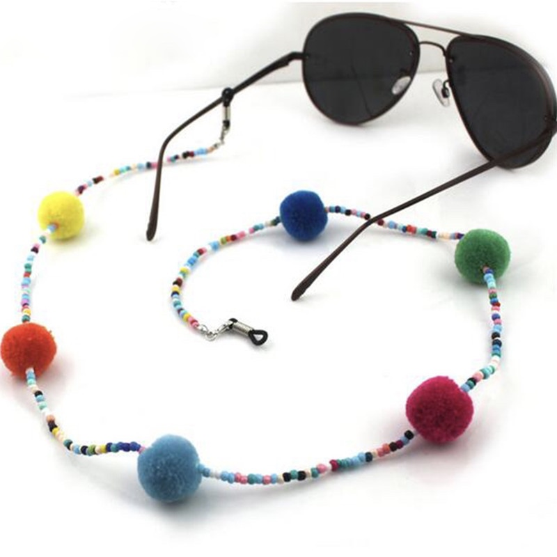 Cordon lunettes perles pompons boho boheme chic access0293