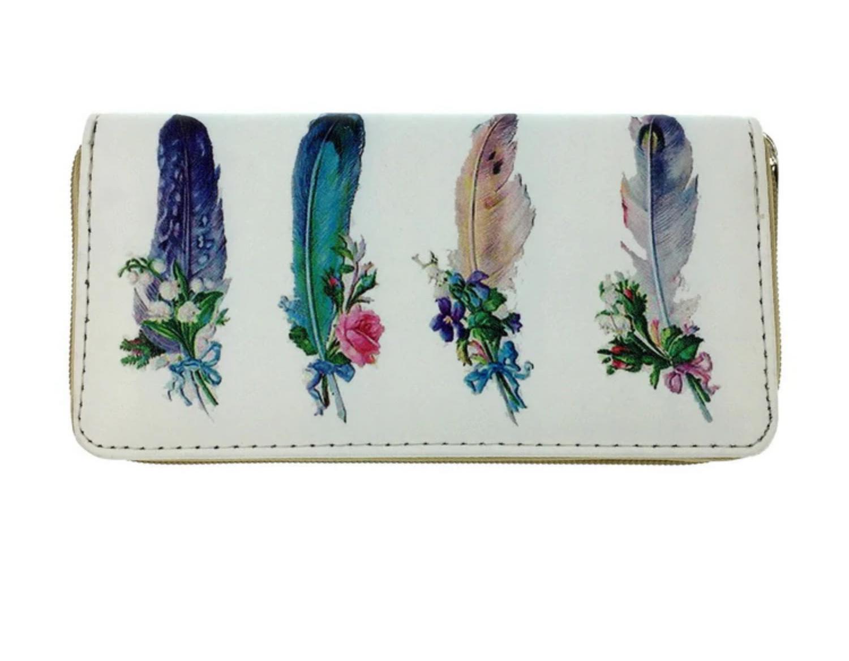 Porte cartes plumes boho boheme chic wallet0201