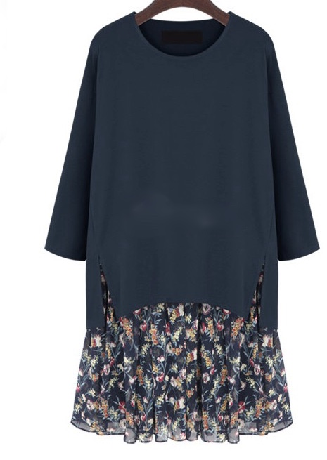Robe 2 en 1 fleurs rétro boho bohème chic DRESS1109