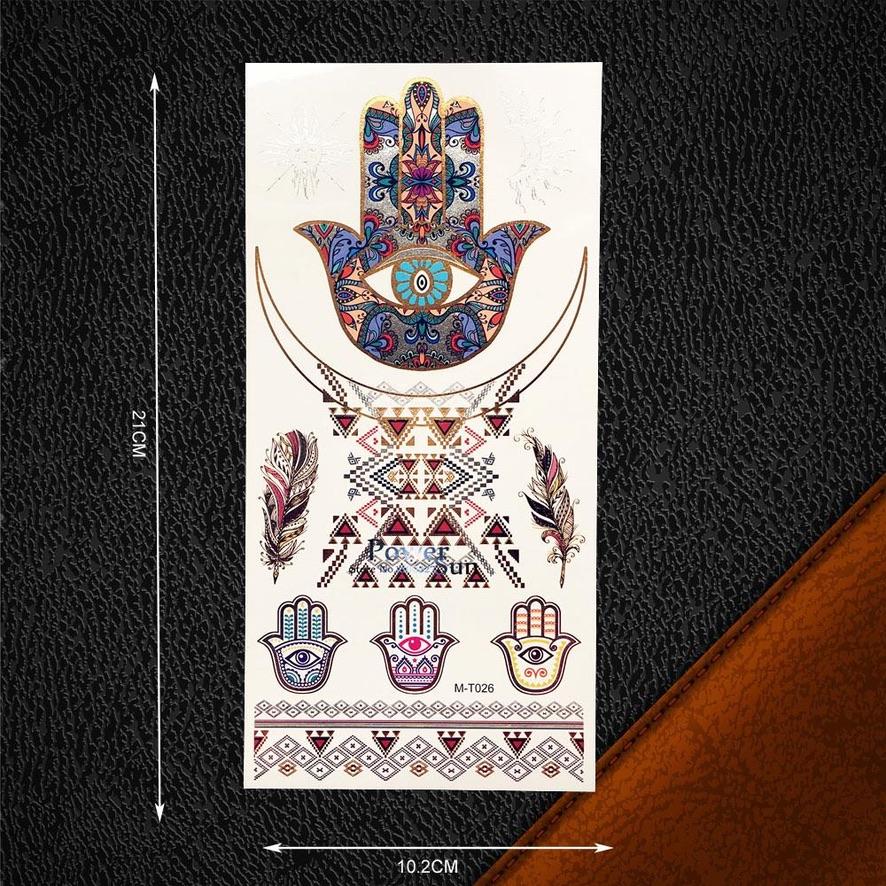 Tatouage éphémère Main Fatima plumes boho boheme chic ACCESS0303