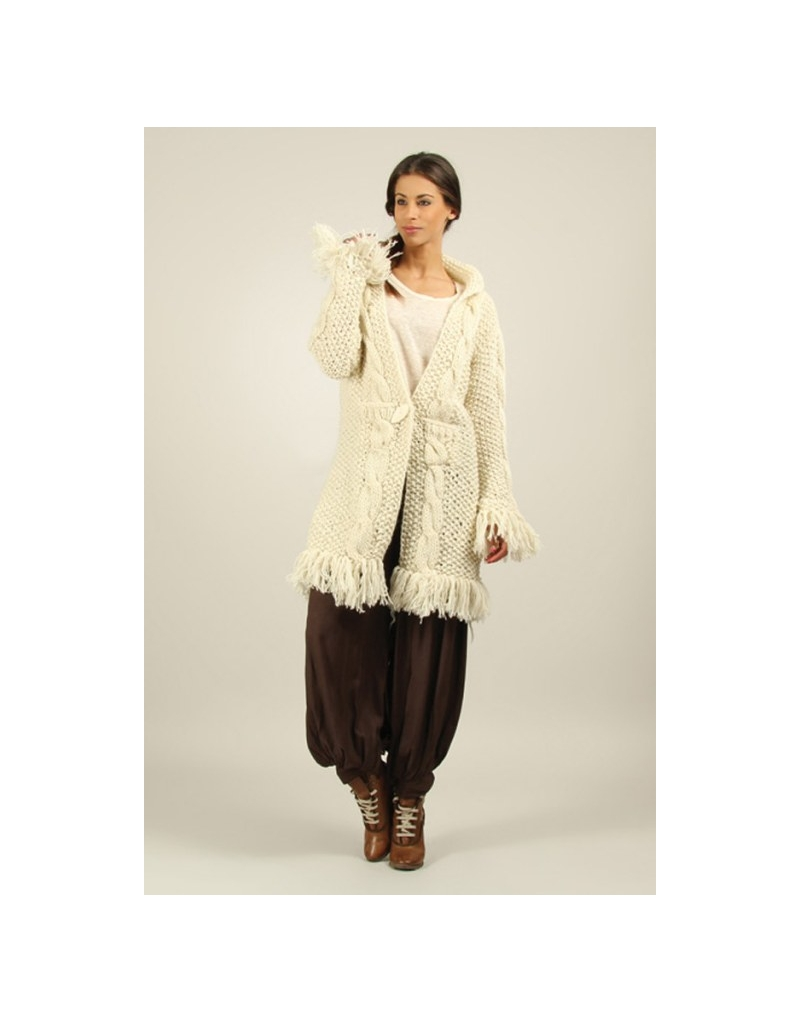 Manteau gilet franges beige laine boho boheme chic COAT0218