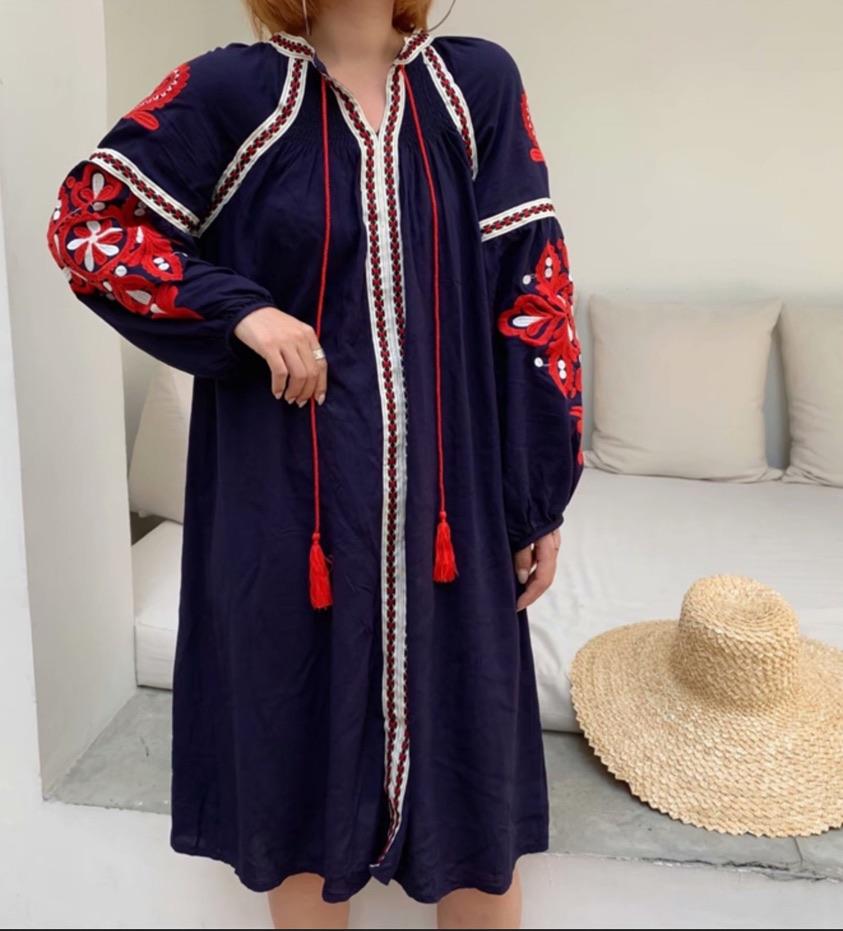 Robe courte brodée  boho boheme chic DRESS1695