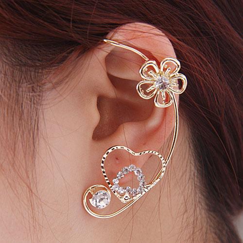 Boucle sur oreille fleur coeur strass boho boheme chic BO0354