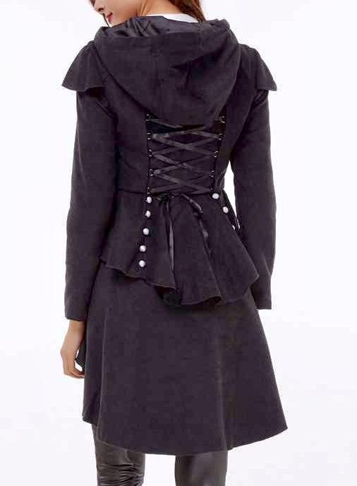 Manteau style redingote laçage dos boho boheme chic coat0225