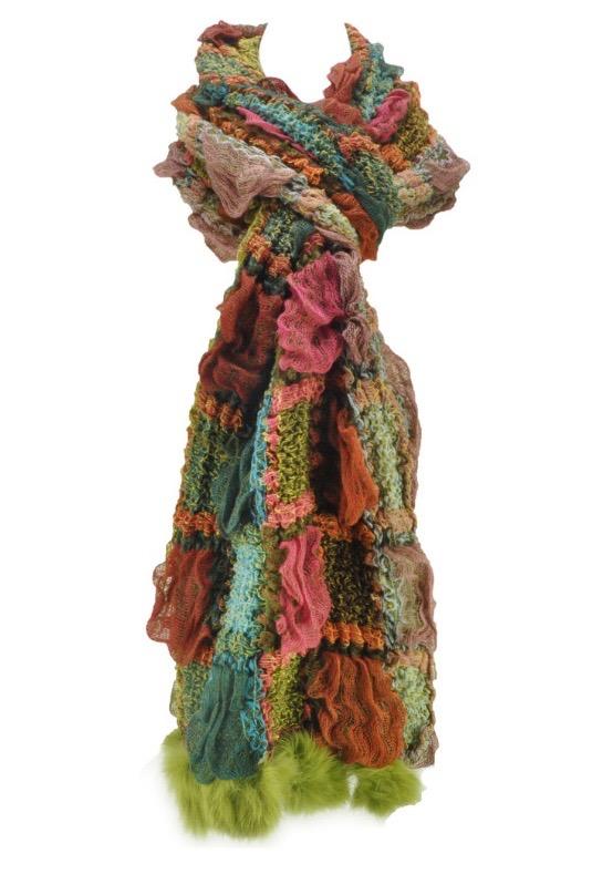 Echarpe laine multicouleurs pompons boho boheme chic SCARF0196