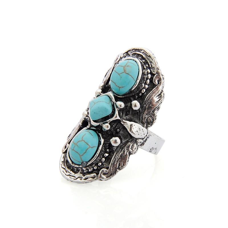 Bague argent vieilli turquoises boho boheme chic RING0401