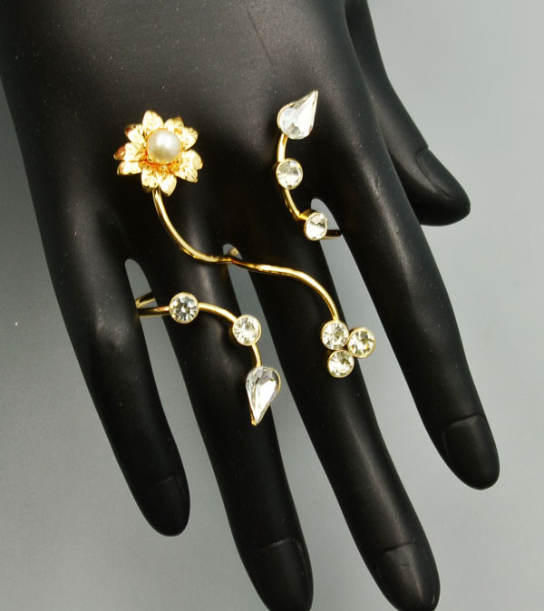 Bague 2 doigts longue fleur boho boheme chic ring0415