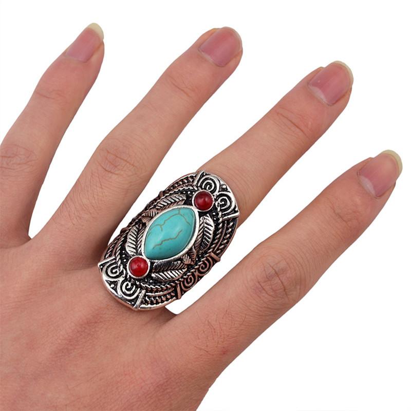 Bague argent vieilli turquoise boho boheme chic ring0408