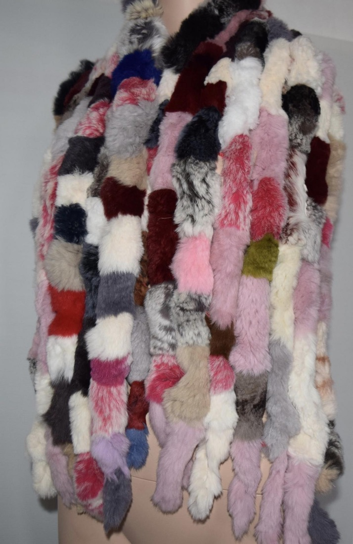 Echarpe fourrure lapin multicouleurs boho boheme chic scarf0254